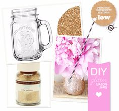42 DIY Room Decor for Girls - DIY Glitter Mason Jar - Awesome Do It Yourself Room Decor For Girls, Room Decorating Ideas, Creative Room Decor For Girls, Bedroom Accessories, Insanely Cute Room Decor For Girls http://diyjoy.com/diy-room-decor-girls