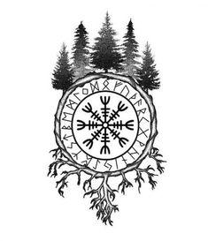 Tattoo Compass Sleeve Ink 50 Ideas #tattoo Viking Compass Tattoo, Viking Tattoo Sleeve, Norse Tattoo, Viking Tattoo Design, Celtic Tattoos, Helm Of Awe Tattoo, Armor Tattoo, Viking Tribal Tattoos, Yggdrasil Tattoo