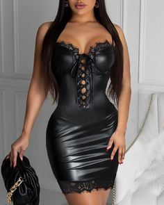 Eyelet Lace-up Lace Trim PU Leather Bodycon Dress Online. Discover hottest trend fashion at chicme.com Tight Dresses, Sexy Dresses, Beautiful Dresses, Short Dresses, Summer Dresses, Casual Fall Outfits, Sexy Outfits, Cute Outfits, Fashion Outfits