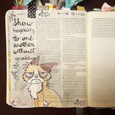 On a mini vacation with the hubby and of course I had to bring along all my journaling goodies. After reading this verse last night I immediately thought of grumpy cat ☺ This verse touches on something that I really struggle with. I'm good at surface joy when serving others but getting my heart into can be really hard sometimes. This is hard to admit, but I like to think I'm not the only one who struggles with this and hope this post can encourage you also. Don't be a grumpy cat...serve othe... Bible Crafts, Bible Art, Bible Quotes, Bible Verses, Scriptures, Psalm 86, Slow To Anger, Love You A Lot, 2 Peter