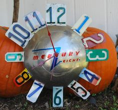 Vintage Mercury Eight Hubcap Clock Hubcap License Plate by dables
