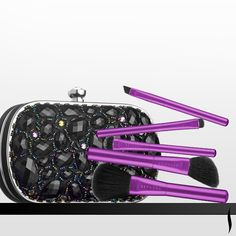 This jeweled clutch comes with five enclosed brushes for on-the-go needs—but could serve as statement party accessory on its own. COLLECTION Make An Entrance Clutch Brush Set Party Makeup, Diy Makeup, Makeup Tools, Makeup Brushes, Makeup Brands, Best Makeup Products, Beauty Products, Lip Tips, Retail Concepts