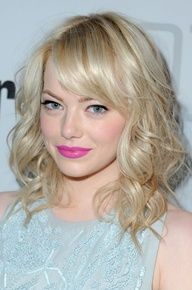 Medium Hairstyles for 2013: Emma Stones Platinum Blond Curly Hair with Bangs