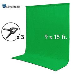LimoStudio 9 x 15 ft. Green Chromakey Muslin Backdrop Background Screen for Photo