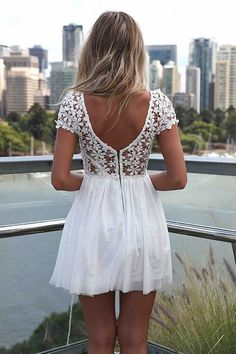 I am happy to find this Sexy Backless Embroidery Lace Stitching Chiffon Dress . I like the white one. #dress #lace #flower #embroidery #backless