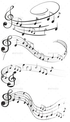 Four set of music notes Design of musical notes drawn out on an empty sheet royalty-free design of musical notes drawn out on an empty sheet stock vector art & more images of Four set of music notes