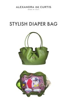 Are you looking for a stylish leather diaper bag? Click through to check out this designer diaper bag handmade in Italy! Italian Leather Handbags, Designer Leather Handbags, Leather Diaper Bags, Baby Diaper Bags, How To Make Handbags, One Bag, Green Bag, Leather Design, Italian Street