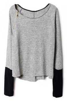 Romwe - Zippered Light Grey Pullover.
