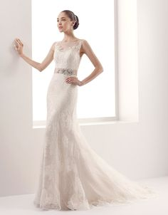 2015 Sheath/Column Illusion Embroidery Sweep Train Tulle Wedding Dresses