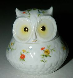 Vintage Lefton Hand Painted Floral China Owl Bird Trinket Jewelry Box Japan 1901 | eBay