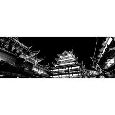 Low Angle View Of Buildings Lit Up At Night Old Town Shanghai China Canvas Art - Panoramic Images (13 x 36)