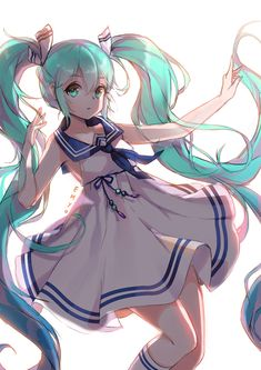 1girl green_eyes green_hair hatsune_miku highres long_hair sailor_dress solo twintails very_long_hair vocaloid yumaomi