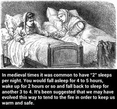in medieval times it was common to have sleeps per night. You would fall asleep for 4 to 5 hours, wake up for 2 hours or so and fall back to sleep for another 3 to Weird Science, Science Facts, Alien Facts, Wtf Fun Facts, Funny Facts, Creepy Facts, Random Facts, Scary, History Memes