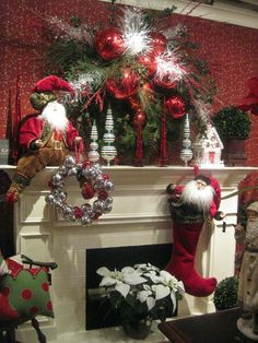 35 Beautiful Christmas Mantels - Christmas Decorating -love the wreath Christmas Fireplace, Christmas Mantels, Noel Christmas, Country Christmas, Winter Christmas, Christmas Wreaths, Christmas Crafts, Fireplace Mantel, White Fireplace