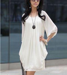 Chiffon-Casual-Short-Sleeve-Mini-Dress on Ebay