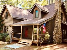Inviting Modern Mountain Home Surrounded By Forest In North Carolina - KitchenRemodel. Mountain Home Interiors, Modern Mountain Home, Log Homes For Sale, North Carolina Mountains, Interior Paint Colors, Blue Ridge, Lodges, Shed, Outdoor Structures
