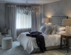 silver + ivory bedroom by Evitavonni Interiors, London.