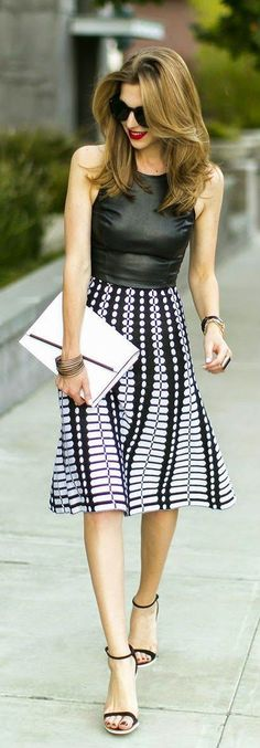 leather top and black and white graphic midi skirt