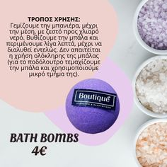 Μένουμε σπίτι ...για απολαμβάνουμε στιγμές χαλάρωσης💦  bath bombs 4€ Τέλεια έκρηξη από αναβράζουσες μπάλες για απολαυστική εμπειρία στο μπάνιο ή στο ποδόλουτρο. Καθώς διαλύονται στην μπανιέρα, προσφέρουν διασκέδαση και χρώμα, ενώ το άρωμα από τα έλαιά τους, συντροφεύει για πολλές ώρες μετά το μπάνιο! Bath Bombs, Bath Fizzies