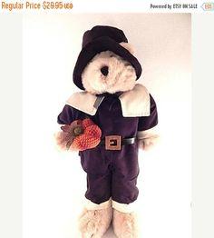 Pilgrim Man Teddy Bear Thanksgiving Decoration 20 by Holiday365
