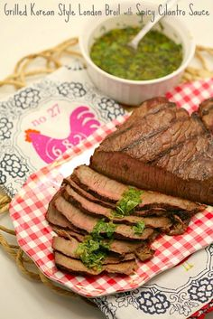 Grilled Korean Style London Broil with Spicy Cilantro Sauce www.fooddonelight.com