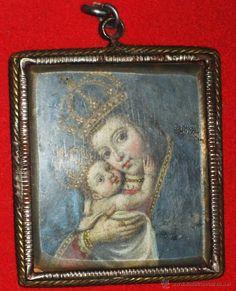 RELICARIO DE PLATA CON PINTURAS - Foto 1 Rosaries, Badges, Colonial, Catholic, Nostalgia, Coin Purse, Collection, Religious Art, Saints