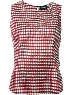 GIORGIO ARMANI Pleated Gingham Top. #giorgioarmani #cloth #top