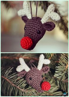 DIY Rudolph the Reindeer Christmas Ornament Free Pattern