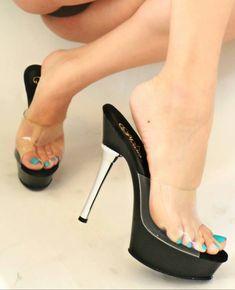 Open Toe High Heels, Black High Heels, High Heels Stilettos, Beautiful High Heels, Gorgeous Feet, Sexy Legs And Heels, Clear Heels, Sexy Toes, Pretty Toes