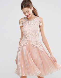 Image 1 ofASOS SALON Metallic Lace Applique Midi Skater Dress
