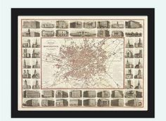 Old Map of Manchester with gravures, england 1857 Vintage