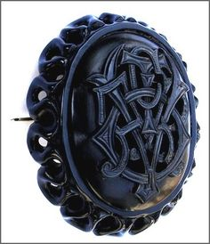 The carved Whitby Jet brooch below is a classic item of mourning jewellery, circa 1850. The large brooch is an expensive commissioned item and would have been produced by one of the master carvers.