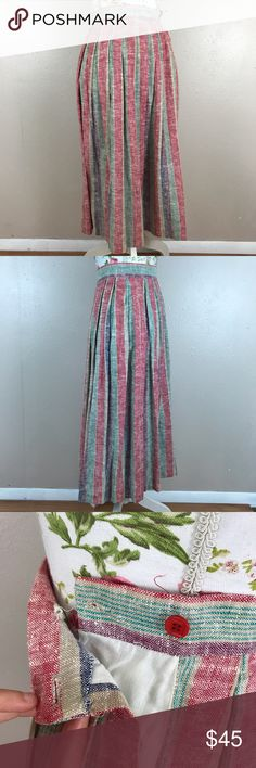 Vintage union label skirt Linen No material tag regarding what it is made out of however it is very similar if not actual linen material. Vintage victorie brand striped skirt. Size 6. Union label. Lying flat and unstretched approximate measurements are waist 13 inches length 30 inches Vintage Skirts Midi