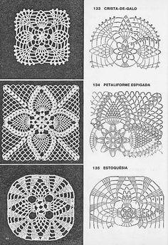 One miniature crochet square d Crochet Bedspread Pattern, Crochet Motif Patterns, Crochet Blocks, Granny Square Crochet Pattern, Crochet Squares, Crochet Chart, Thread Crochet, Filet Crochet, Crochet Designs