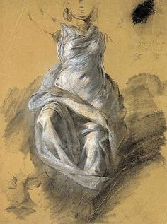 Eugène Delacroix, Draperie féminine (1820)