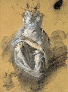 effetto bozzetto, con solo il drappeggio definito e il resto schizzato velocemente (Eugène Delacroix, Draperie féminine,1820)