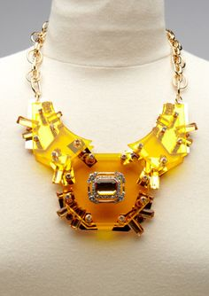 Lucite Shield Necklace
