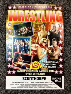 Posters and flyers for Super Slam Wrestling at The Baths Hall on Saturday, 6 October have arrived! Tickets are £15 for adults and £12 for under 16s with family tickets also available. Get more details from https://www.scunthorpetheatres.co.uk/performance/19077.aspx or call in at The Box Office.