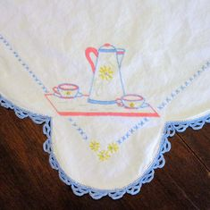 "Vintage Linen Coffee Pot Embroidery Tablecloth 32"" x 33"" White Blue Pink Coffee Theme, Blue Home Decor, Vintage Linen, Linen Tablecloth, Very Lovely, Christmas Tree Ornaments, Embroidery, Pink, Etsy"