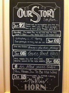My DIY Chalkboard 'Our Story' Sign... :  wedding chalkboard diy love story our story reception sign typography Chalkboard 3