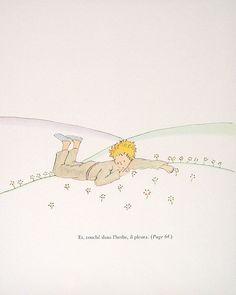 The Little Prince - Antoine de Saint-Exupery - French Caption - 1971 Vintage Children's Book Page Plate. $12.00, via Etsy.