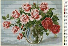 roses in a vase Mais Cross Stitch Rose, Cross Stitch Flowers, Cross Stitch Charts, Cross Stitch Patterns, Learn Embroidery, Cross Stitch Embroidery, Seed Bead Crafts, Cross Stitching, Flower Patterns