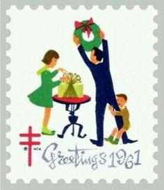 Estampilla Postal de USA. Conmemorativo de las fiestas Navideñas del año 1961.