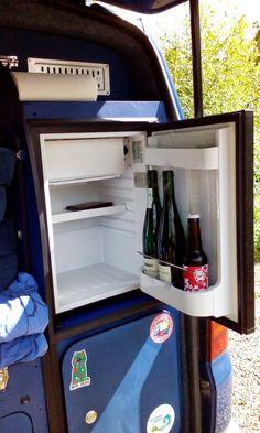 12V compressor fridge in rear kitchen of VW T5