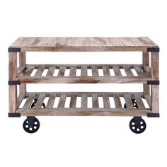 Wood console cart with two open shelves and factory-style wheels.   Product: Console cart   Construction Material:...