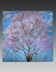 """Spring Magnolia Tree"" Stained Glass Mosaic So elegant! Paper Mosaic, Mosaic Tile Art, Mosaic Crafts, Mosaic Projects, Mosaic Glass, Glass Art, Stained Glass, Mosaic Artwork, Mosaic Designs"