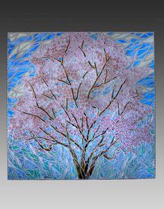 """Spring Magnolia Tree"" Stained Glass Mosaic So elegant! Paper Mosaic, Mosaic Tile Art, Mosaic Crafts, Mosaic Glass, Glass Art, Stained Glass, Mosaic Designs, Mosaic Patterns, Tiffany Art"