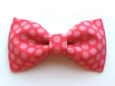Custom Pink Polka Dot Bowtie for Cats or Dogs  by WhiskersCrafts