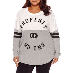 Flirtitude Long Sleeve T-Shirt-Juniors Plus ($20) ❤ liked on Polyvore featuring plus size women's fashion, plus size clothing, plus size tops, plus size t-shirts, white long sleeve t shirt, longsleeve tee, long sleeve t shirts, long sleeve tees and long sleeve tops