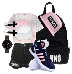 """""""Untitled #112"""" by moni-sicle ❤ liked on Polyvore featuring Moschino, Topshop, Kenzo, adidas, I Love Ugly and Chicnova Fashion"""